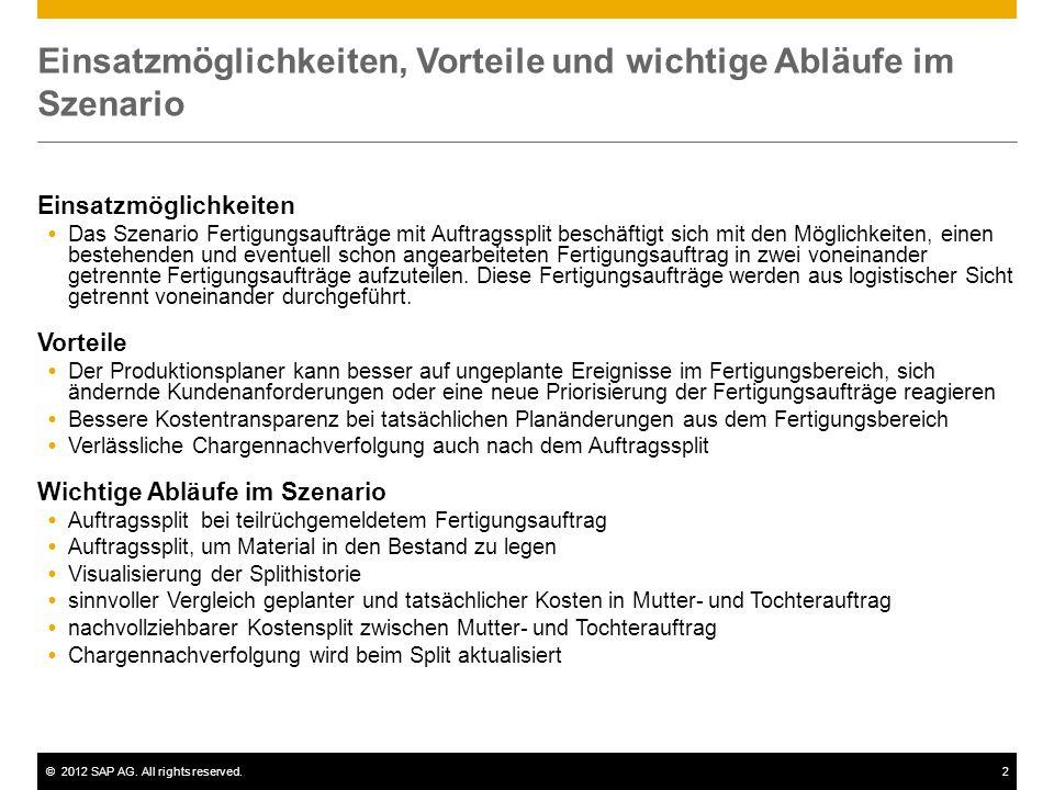 ©2012 SAP AG. All rights reserved.2 Einsatzmöglichkeiten, Vorteile und wichtige Abläufe im Szenario Einsatzmöglichkeiten  Das Szenario Fertigungsauft