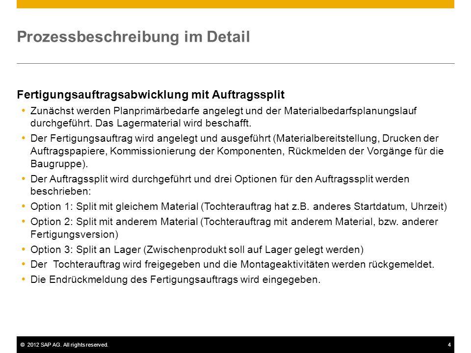 ©2012 SAP AG. All rights reserved.4 Prozessbeschreibung im Detail Fertigungsauftragsabwicklung mit Auftragssplit  Zunächst werden Planprimärbedarfe a