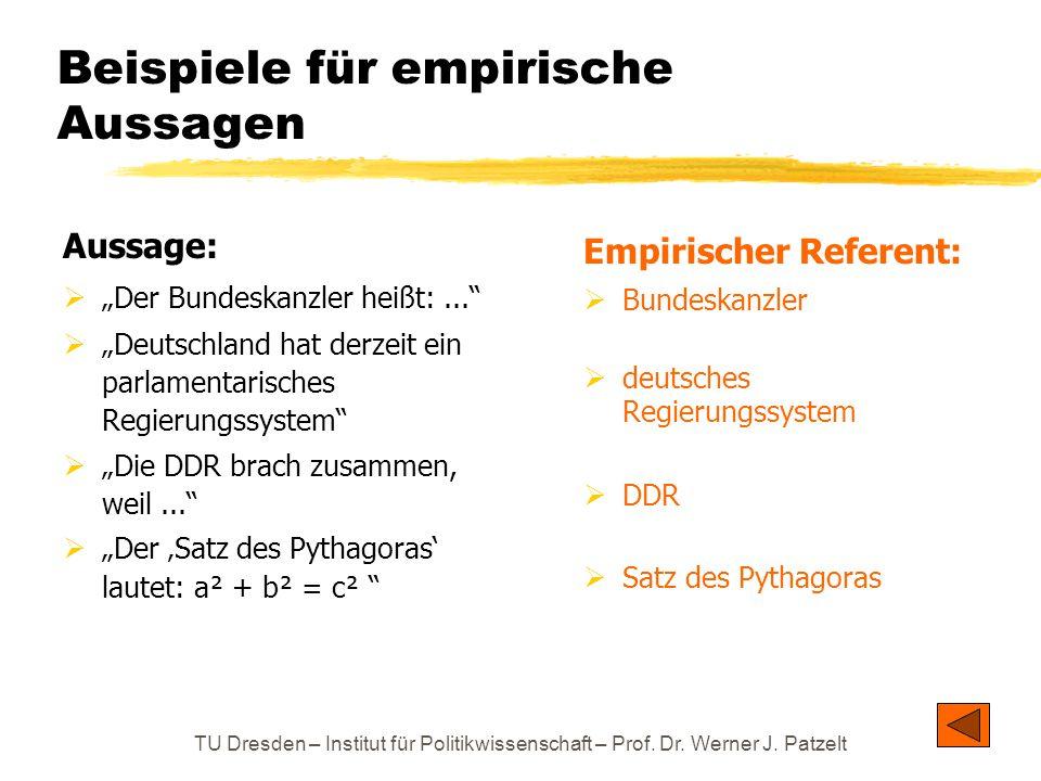 """TU Dresden – Institut für Politikwissenschaft – Prof. Dr. Werner J. Patzelt Beispiele für empirische Aussagen Aussage:  """"Der Bundeskanzler heißt:..."""""""