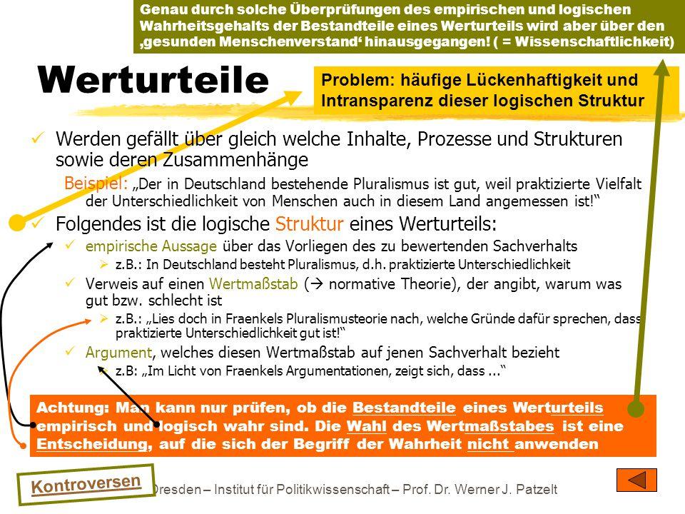 TU Dresden – Institut für Politikwissenschaft – Prof. Dr. Werner J. Patzelt Werturteile Werden gefällt über gleich welche Inhalte, Prozesse und Strukt