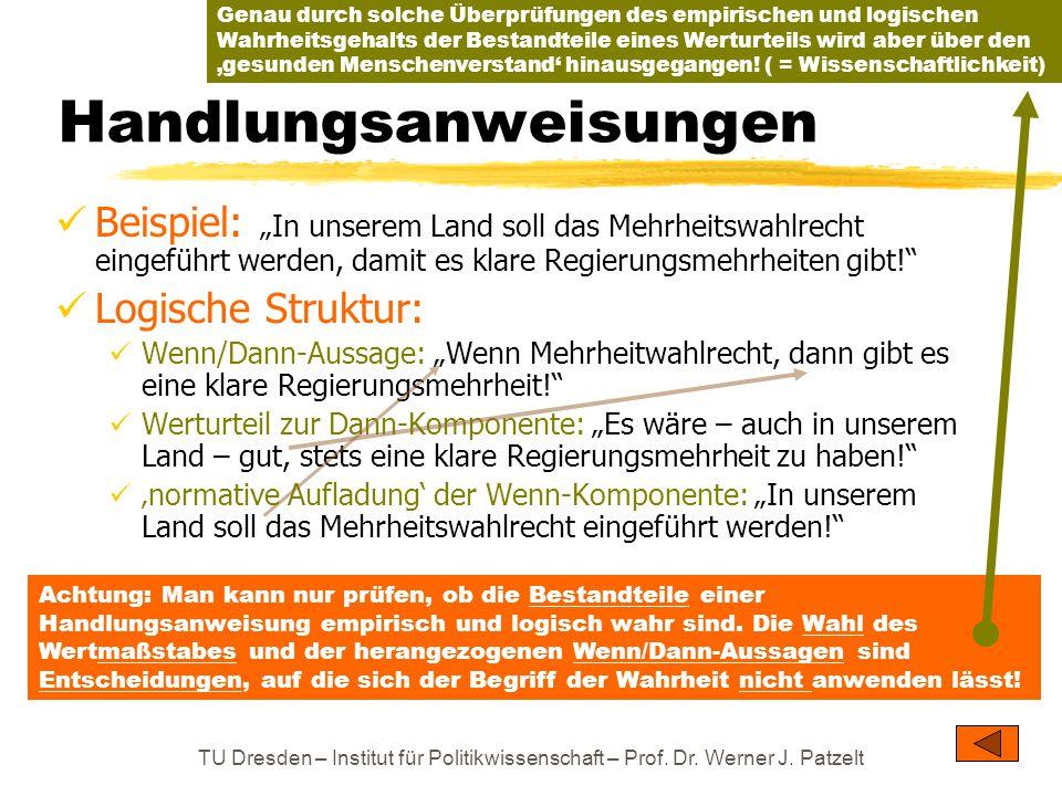 """TU Dresden – Institut für Politikwissenschaft – Prof. Dr. Werner J. Patzelt Beispiel: """"In unserem Land soll das Mehrheitswahlrecht eingeführt werden,"""