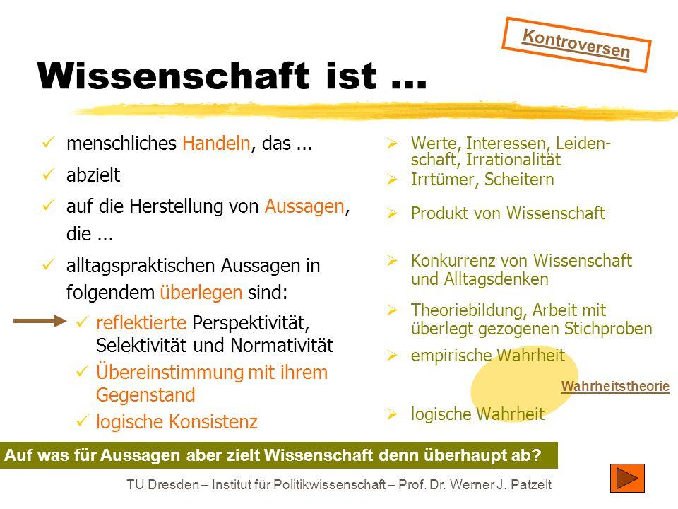 TU Dresden – Institut für Politikwissenschaft – Prof. Dr. Werner J. Patzelt  Werte, Interessen, Leiden- schaft, Irrationalität  Irrtümer, Scheitern