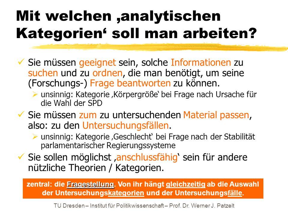 TU Dresden – Institut für Politikwissenschaft – Prof. Dr. Werner J. Patzelt Mit welchen 'analytischen Kategorien' soll man arbeiten? Sie müssen geeign