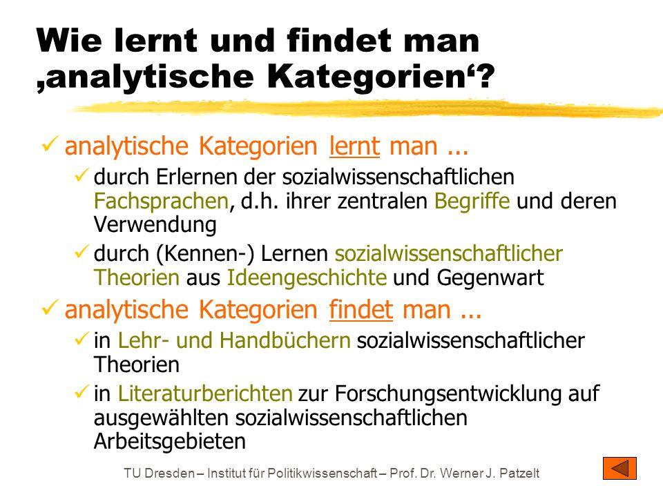 TU Dresden – Institut für Politikwissenschaft – Prof. Dr. Werner J. Patzelt Wie lernt und findet man 'analytische Kategorien'? analytische Kategorien