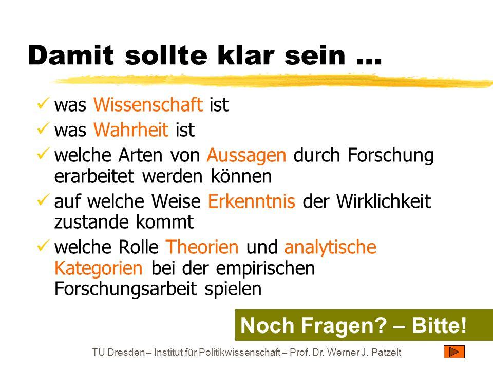TU Dresden – Institut für Politikwissenschaft – Prof. Dr. Werner J. Patzelt Damit sollte klar sein … was Wissenschaft ist was Wahrheit ist welche Arte