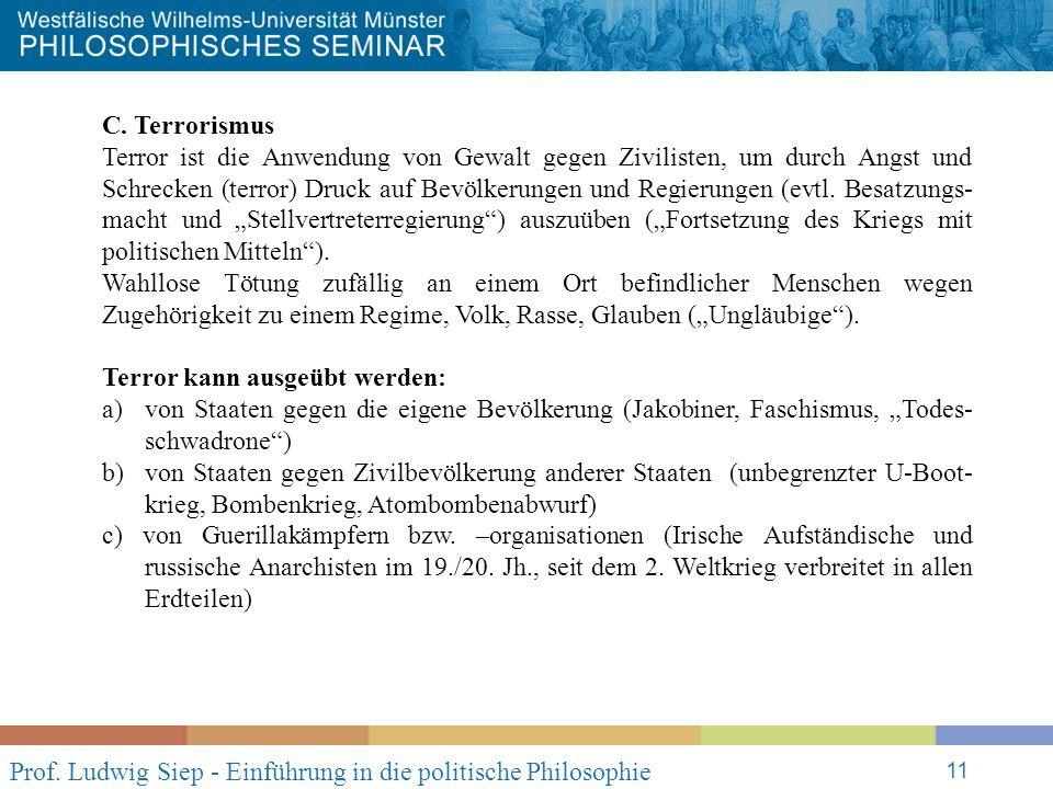 Prof. Ludwig Siep - Einführung in die politische Philosophie 11 C.