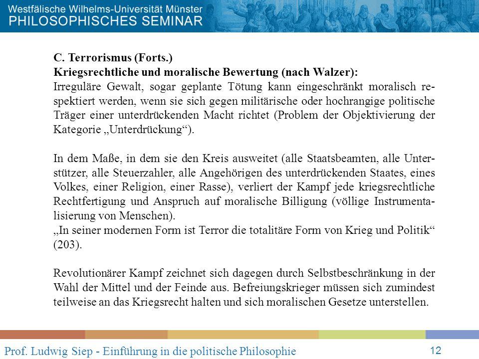 Prof. Ludwig Siep - Einführung in die politische Philosophie 12 C.