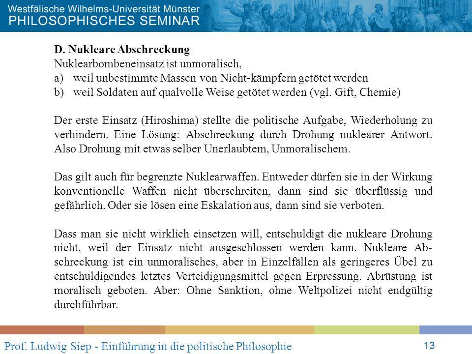 Prof. Ludwig Siep - Einführung in die politische Philosophie 13 D.