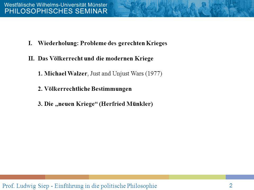Prof. Ludwig Siep - Einführung in die politische Philosophie 2 I.