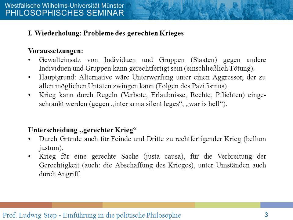 Prof. Ludwig Siep - Einführung in die politische Philosophie 3 I.