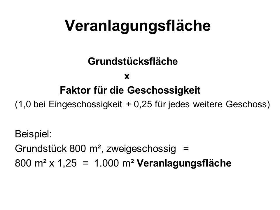 Veranlagungsfläche Grundstücksfläche x Faktor für die Geschossigkeit (1,0 bei Eingeschossigkeit + 0,25 für jedes weitere Geschoss) Beispiel: Grundstüc