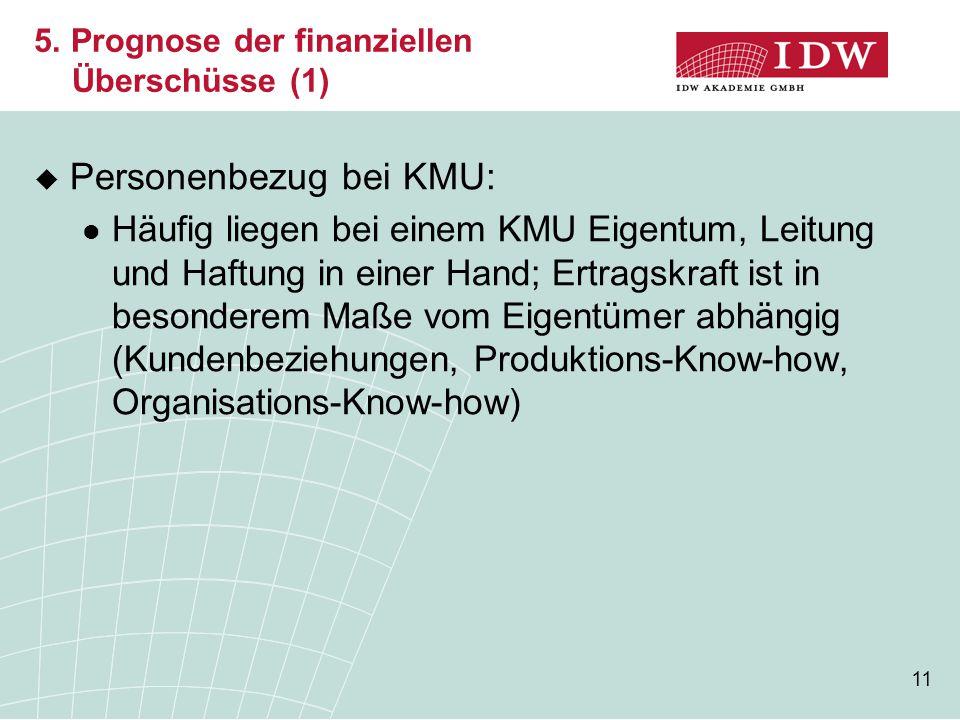 11 5. Prognose der finanziellen Überschüsse (1)  Personenbezug bei KMU: Häufig liegen bei einem KMU Eigentum, Leitung und Haftung in einer Hand; Ertr
