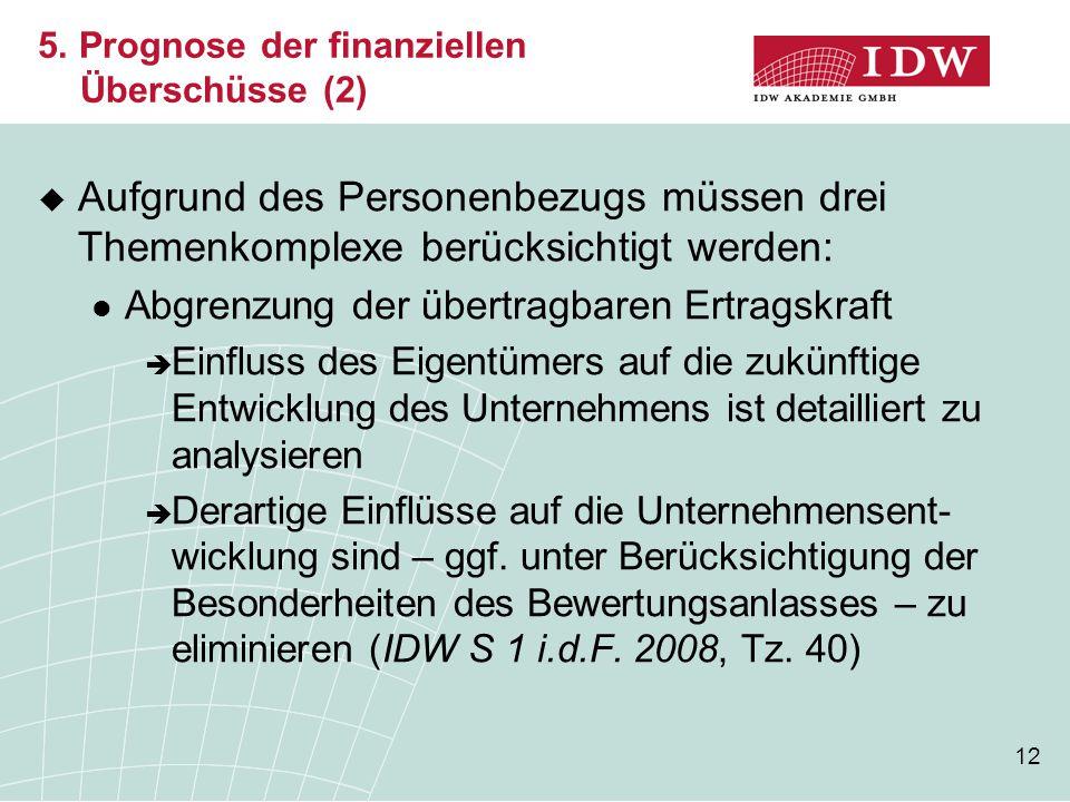 12 5. Prognose der finanziellen Überschüsse (2)  Aufgrund des Personenbezugs müssen drei Themenkomplexe berücksichtigt werden: Abgrenzung der übertra