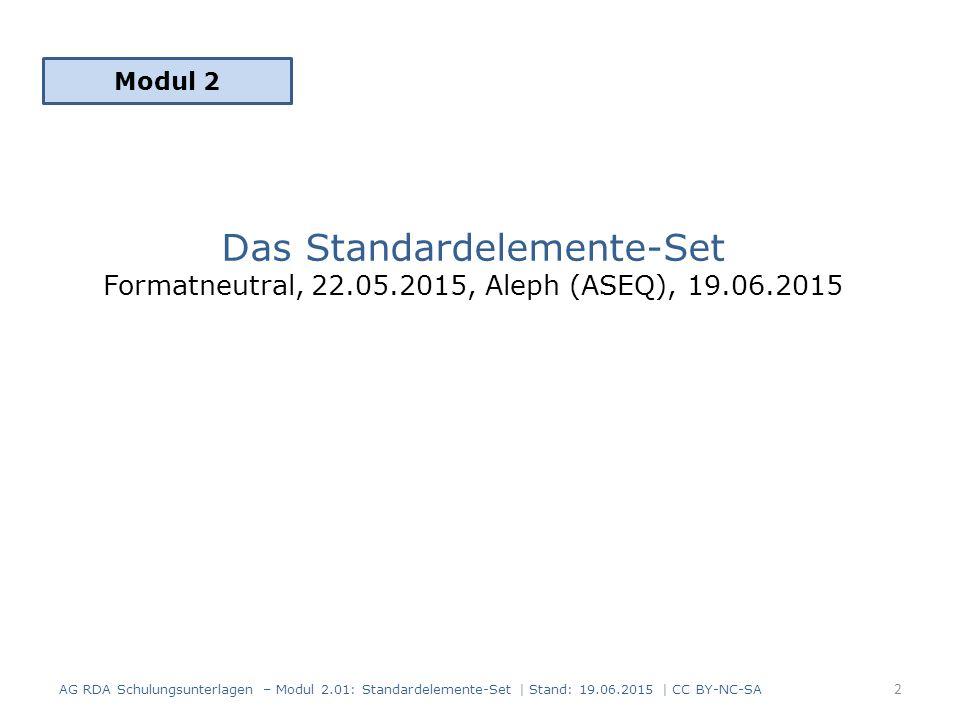Das Standardelemente-Set Formatneutral, 22.05.2015, Aleph (ASEQ), 19.06.2015 Modul 2 2 AG RDA Schulungsunterlagen – Modul 2.01: Standardelemente-Set | Stand: 19.06.2015 | CC BY-NC-SA