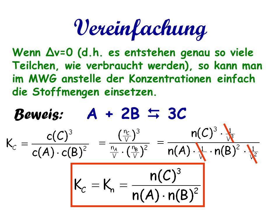 Vereinfachung Wenn Δν=0 (d.h. es entstehen genau so viele Teilchen, wie verbraucht werden), so kann man im MWG anstelle der Konzentrationen einfach di