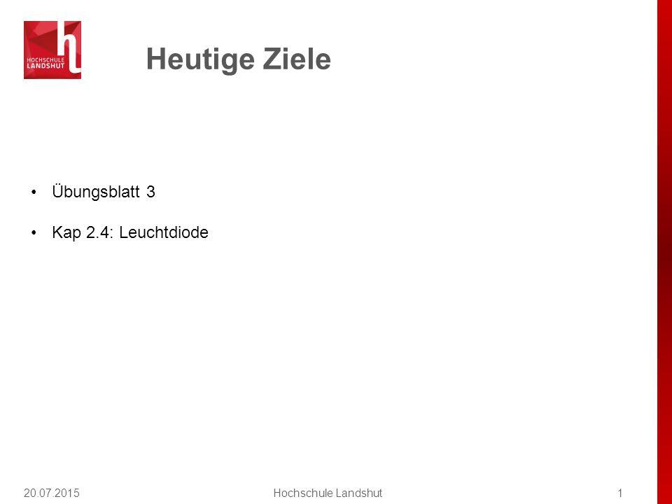 Erlaubte Hilfsmittel in der Klausur 20.07.20152Hochschule Landshut Grundsätzlich: PC, Laptop, Notebook, Geräte mit drahtloser Kommunikationsschnittstelle sind als Hilfsmittel ausgeschlossen.