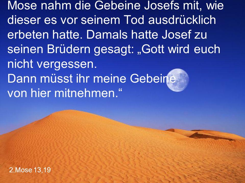 """2.Mose 13,19 Mose nahm die Gebeine Josefs mit, wie dieser es vor seinem Tod ausdrücklich erbeten hatte. Damals hatte Josef zu seinen Brüdern gesagt: """""""