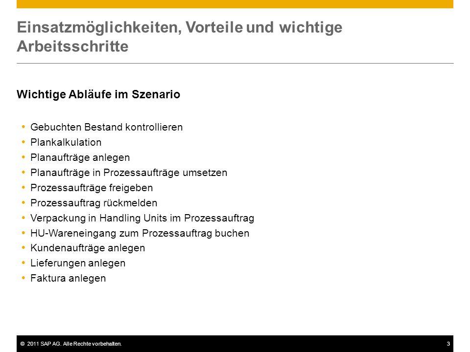 ©2011 SAP AG. Alle Rechte vorbehalten.3 Einsatzmöglichkeiten, Vorteile und wichtige Arbeitsschritte Wichtige Abläufe im Szenario  Gebuchten Bestand k