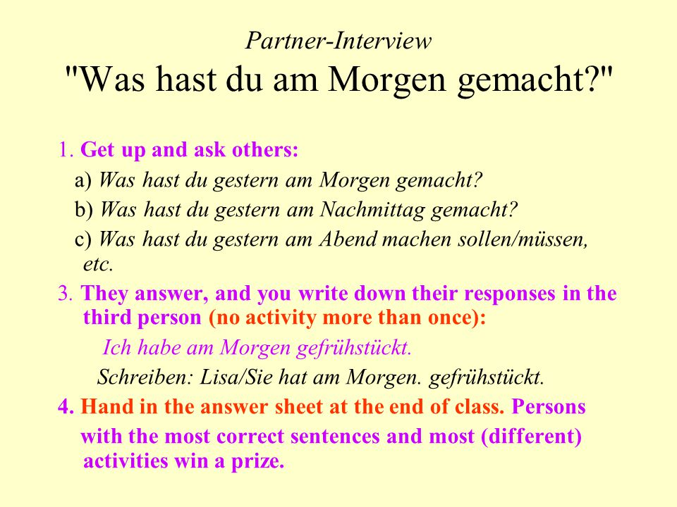 Partner-Interview Was hast du am Morgen gemacht 1.
