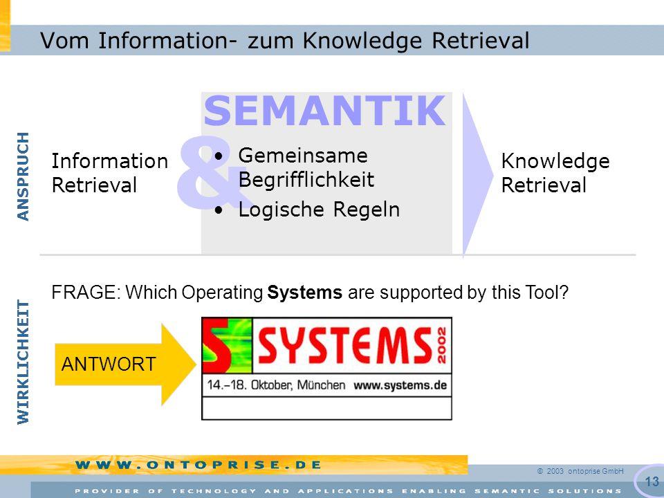 © 2003 ontoprise GmbH 13 & Vom Information- zum Knowledge Retrieval Gemeinsame Begrifflichkeit Logische Regeln Knowledge Retrieval Information Retriev