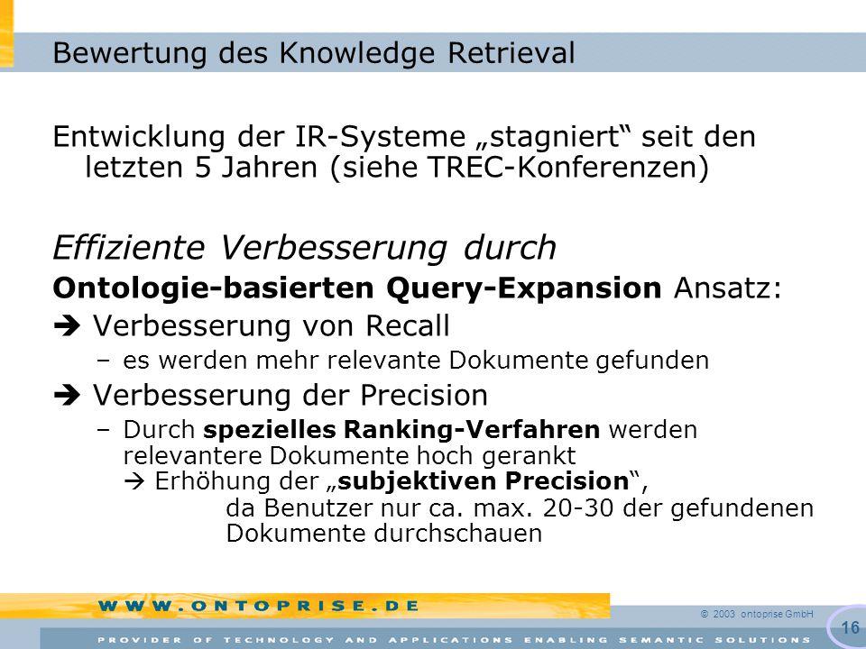 """© 2003 ontoprise GmbH 16 Bewertung des Knowledge Retrieval Entwicklung der IR-Systeme """"stagniert seit den letzten 5 Jahren (siehe TREC-Konferenzen) Effiziente Verbesserung durch Ontologie-basierten Query-Expansion Ansatz:  Verbesserung von Recall –es werden mehr relevante Dokumente gefunden  Verbesserung der Precision –Durch spezielles Ranking-Verfahren werden relevantere Dokumente hoch gerankt  Erhöhung der """"subjektiven Precision , da Benutzer nur ca."""