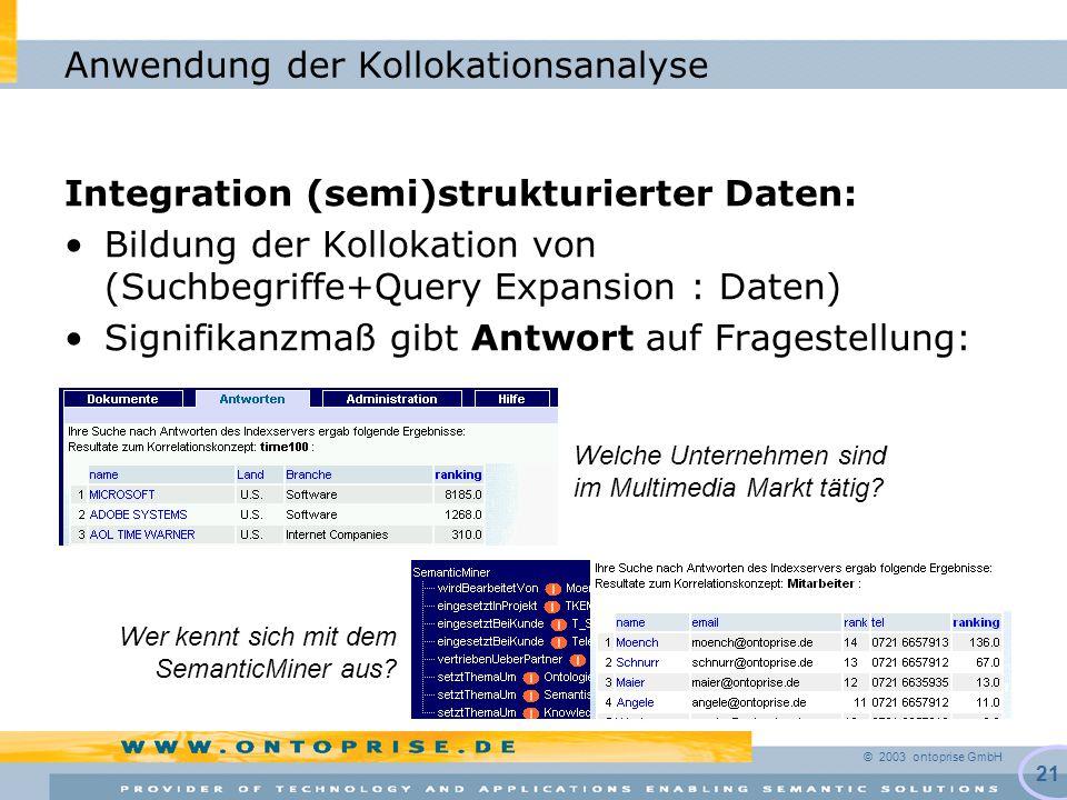 © 2003 ontoprise GmbH 21 Anwendung der Kollokationsanalyse Integration (semi)strukturierter Daten: Bildung der Kollokation von (Suchbegriffe+Query Expansion : Daten) Signifikanzmaß gibt Antwort auf Fragestellung: Welche Unternehmen sind im Multimedia Markt tätig.