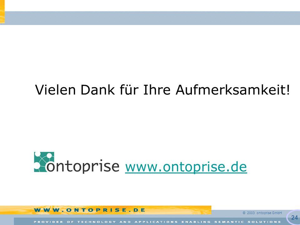 © 2003 ontoprise GmbH 24 Vielen Dank für Ihre Aufmerksamkeit! www.ontoprise.de