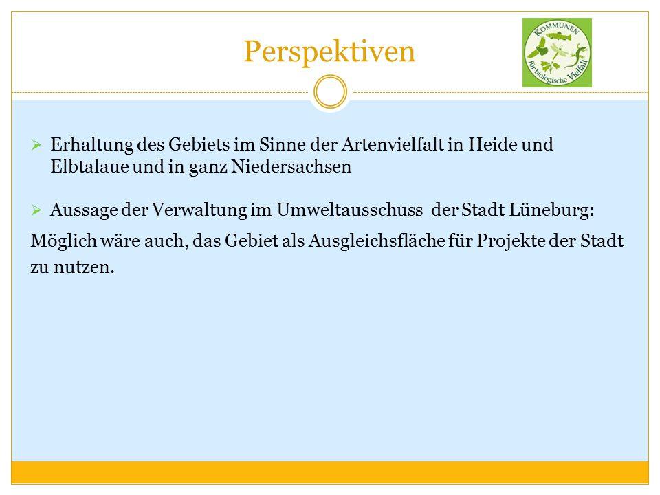 Perspektiven  Erhaltung des Gebiets im Sinne der Artenvielfalt in Heide und Elbtalaue und in ganz Niedersachsen  Aussage der Verwaltung im Umweltaus
