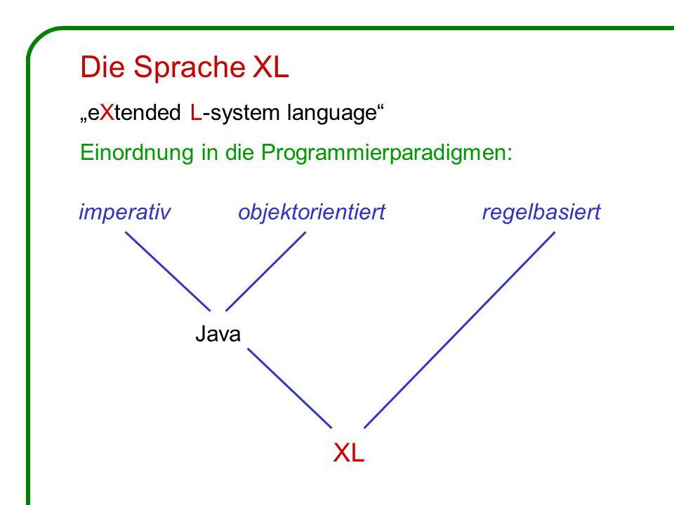 """imperativobjektorientiertregelbasiert Java XL Die Sprache XL """"eXtended L-system language Einordnung in die Programmierparadigmen:"""