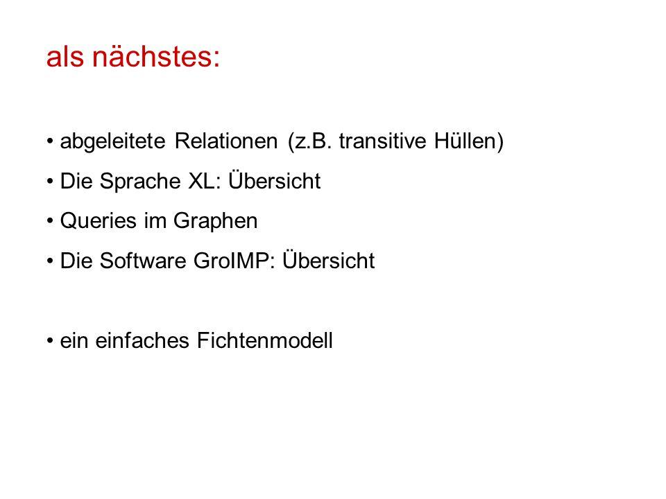 als nächstes: abgeleitete Relationen (z.B. transitive Hüllen) Die Sprache XL: Übersicht Queries im Graphen Die Software GroIMP: Übersicht ein einfache