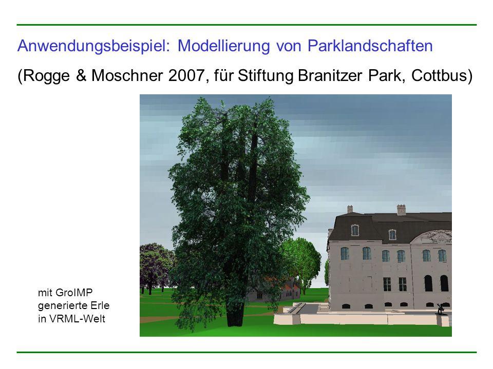 Anwendungsbeispiel: Modellierung von Parklandschaften (Rogge & Moschner 2007, für Stiftung Branitzer Park, Cottbus) mit GroIMP generierte Erle in VRML