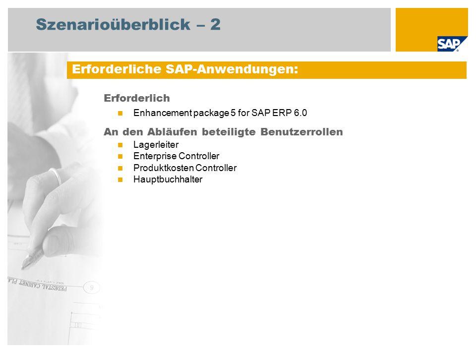 Szenarioüberblick – 2 Erforderlich Enhancement package 5 for SAP ERP 6.0 An den Abläufen beteiligte Benutzerrollen Lagerleiter Enterprise Controller Produktkosten Controller Hauptbuchhalter Erforderliche SAP-Anwendungen:
