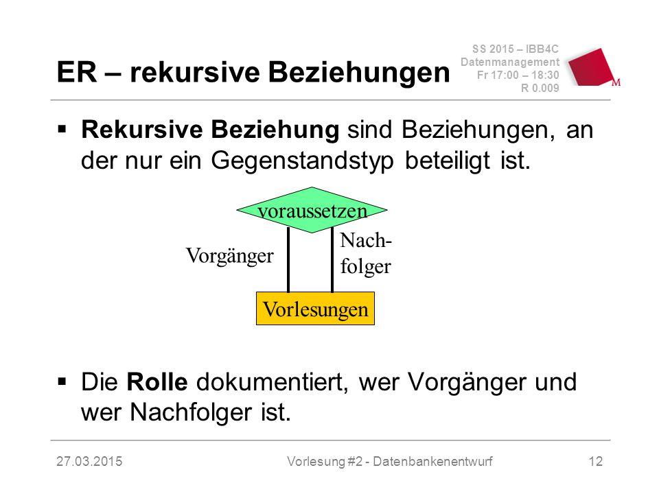SS 2015 – IBB4C Datenmanagement Fr 17:00 – 18:30 R 0.009 27.03.2015 ER – rekursive Beziehungen  Rekursive Beziehung sind Beziehungen, an der nur ein Gegenstandstyp beteiligt ist.