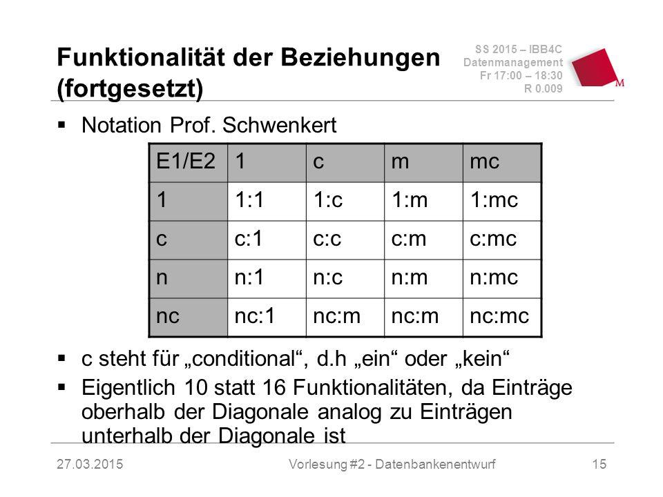 SS 2015 – IBB4C Datenmanagement Fr 17:00 – 18:30 R 0.009 27.03.2015 Funktionalität der Beziehungen (fortgesetzt)  Notation Prof.