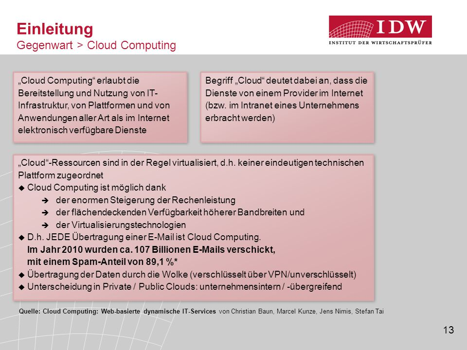 13 Einleitung Gegenwart > Cloud Computing Quelle: Cloud Computing: Web-basierte dynamische IT-Services von Christian Baun, Marcel Kunze, Jens Nimis, S