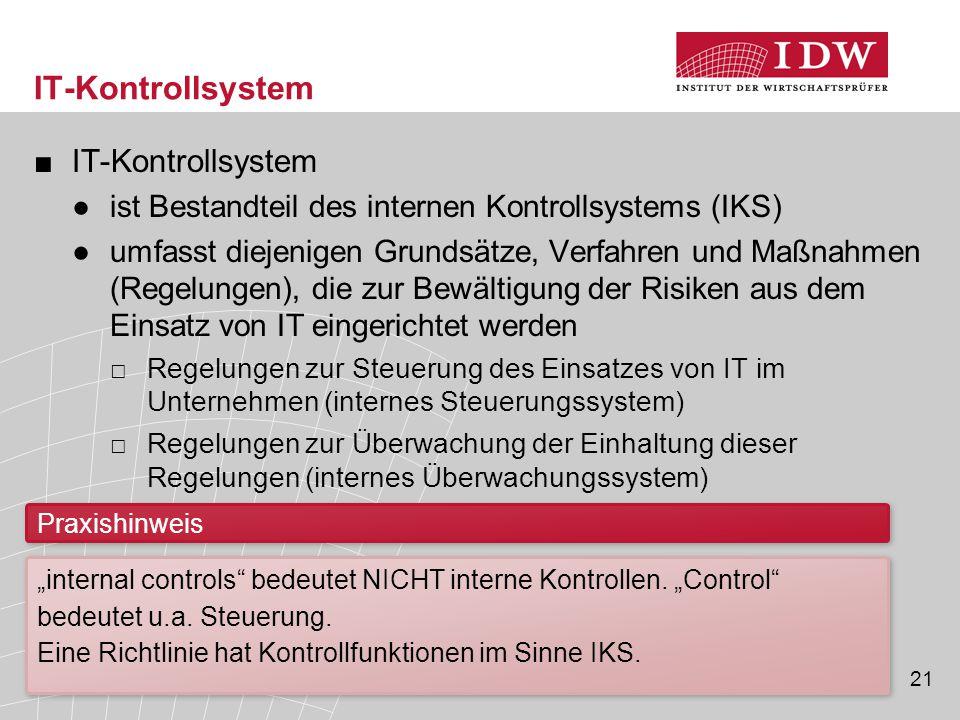21 IT-Kontrollsystem ■IT-Kontrollsystem ●ist Bestandteil des internen Kontrollsystems (IKS) ●umfasst diejenigen Grundsätze, Verfahren und Maßnahmen (R