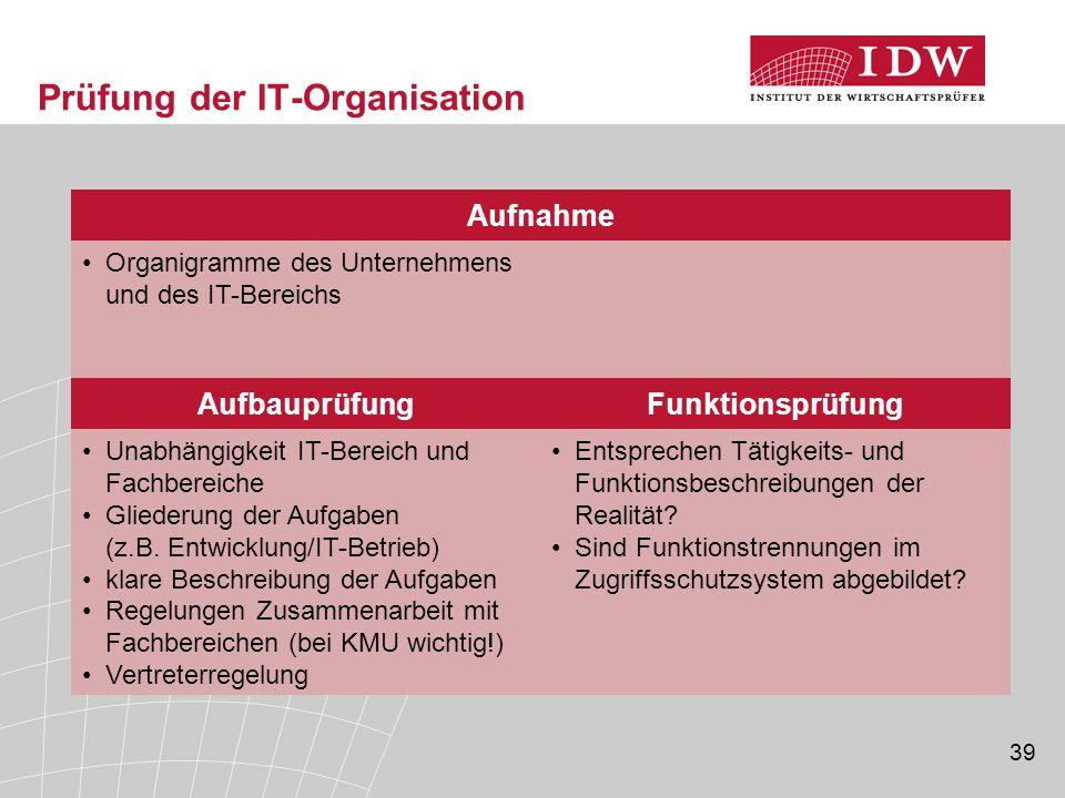 39 Prüfung der IT-Organisation Organigramme des Unternehmens und des IT-Bereichs Aufnahme AufbauprüfungFunktionsprüfung Unabhängigkeit IT-Bereich und