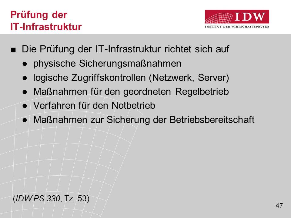 47 Prüfung der IT-Infrastruktur ■Die Prüfung der IT-Infrastruktur richtet sich auf ●physische Sicherungsmaßnahmen ●logische Zugriffskontrollen (Netzwe