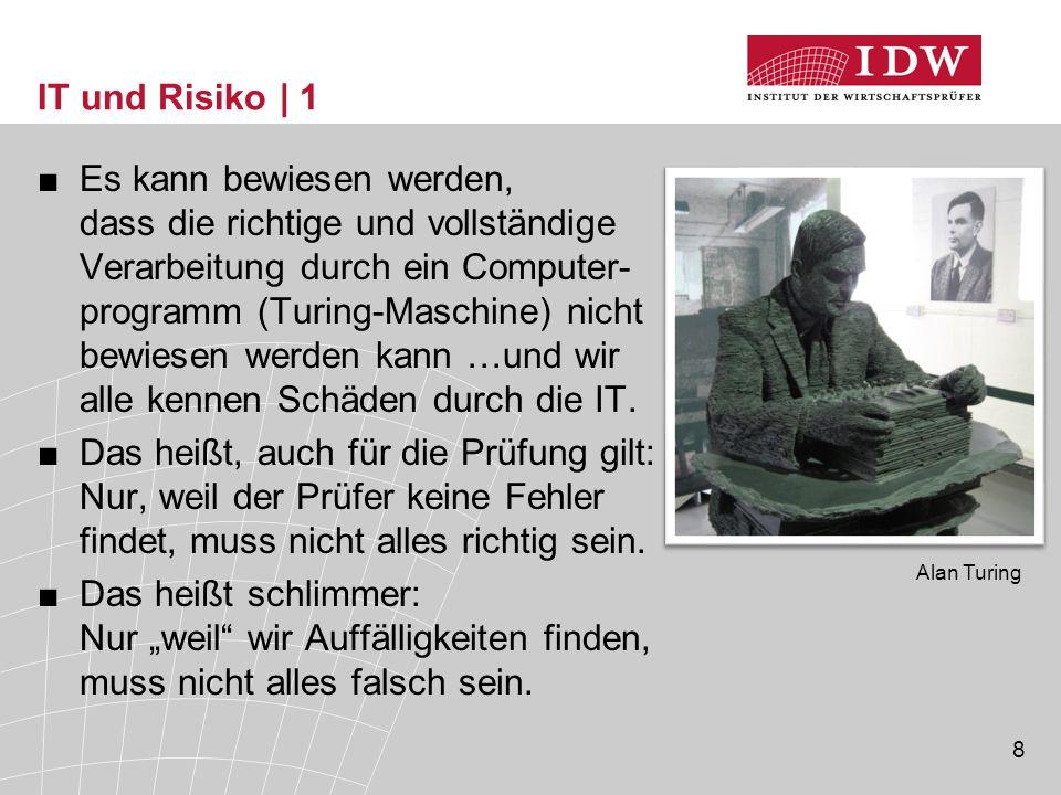 8 Alan Turing IT und Risiko | 1 ■Es kann bewiesen werden, dass die richtige und vollständige Verarbeitung durch ein Computer- programm (Turing-Maschin
