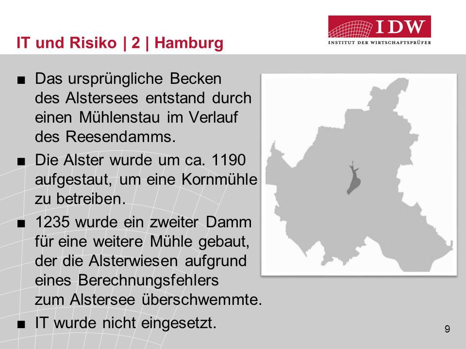 9 IT und Risiko | 2 | Hamburg ■Das ursprüngliche Becken des Alstersees entstand durch einen Mühlenstau im Verlauf des Reesendamms. ■Die Alster wurde u