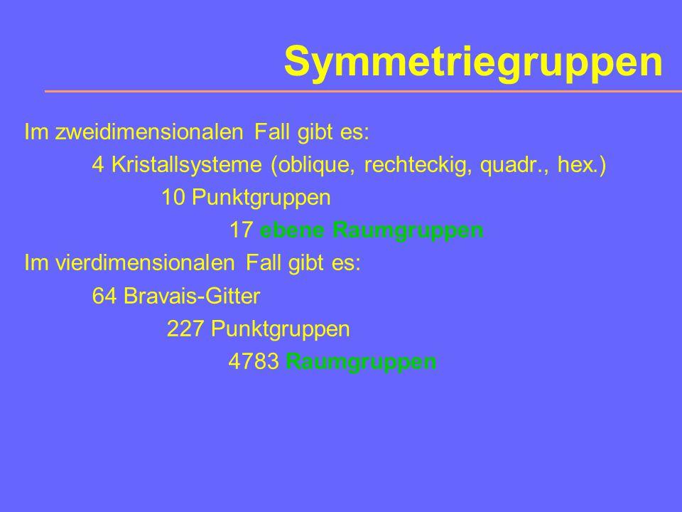 Kristallographische Hierarchien Es gibt: 7 Kristallsysteme 14 Bravais-Gitter 32 Punktgruppen (Kristallklassen) mit 47 einfachen Kristallformen 230 Raumgruppen 122 AS-Punktgruppen (58 AS + 32 graue+32 einfarb.) 1651 AS-Schubnikov-Gruppen (AS: Antisymmetrie)