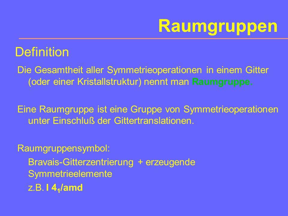 Symmetriegruppen Im zweidimensionalen Fall gibt es: 4 Kristallsysteme (oblique, rechteckig, quadr., hex.) 10 Punktgruppen 17 ebene Raumgruppen Im vierdimensionalen Fall gibt es: 64 Bravais-Gitter 227 Punktgruppen 4783 Raumgruppen