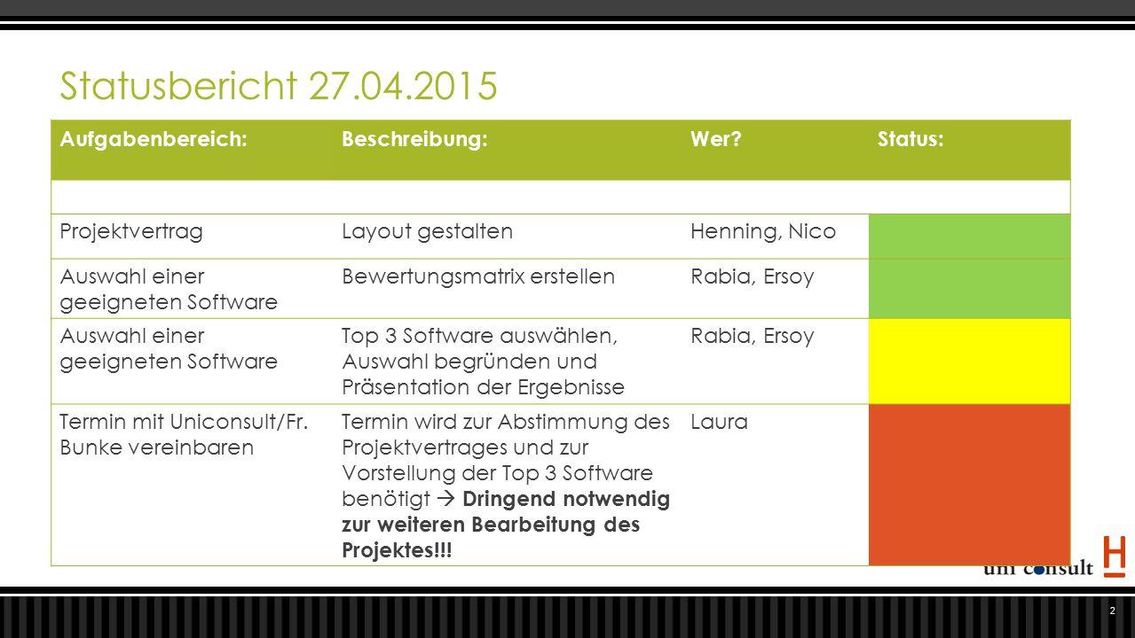 Statusbericht 27.04.2015 Aufgabenbereich:Beschreibung:Wer?Status: ProjektvertragLayout gestaltenHenning, Nico Auswahl einer geeigneten Software Bewert