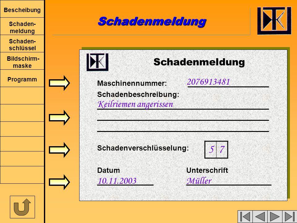 Bescheibung Schaden- meldung Schaden- schlüssel Bildschirm- maske Programm Schadenmeldung Maschinennummer: ____________________ Schadenbeschreibung: __________________________________________ Schadenverschlüsselung: DatumUnterschrift ___________________________________ 2076913481 Keilriemen angerissen 5 7 10.11.2003Müller SchadenmeldungSchadenmeldung