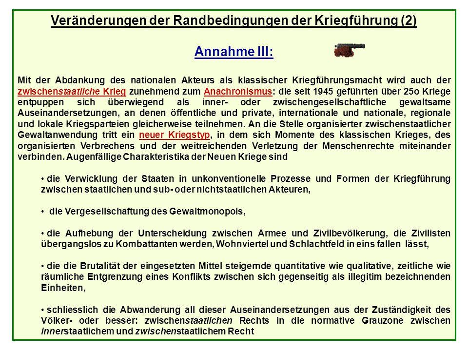 1 Dezember 2005Prof. Dr. Dr. h.c Reinhard Meyers25 Veränderungen der Randbedingungen der Kriegführung (2) Annahme III: Mit der Abdankung des nationale