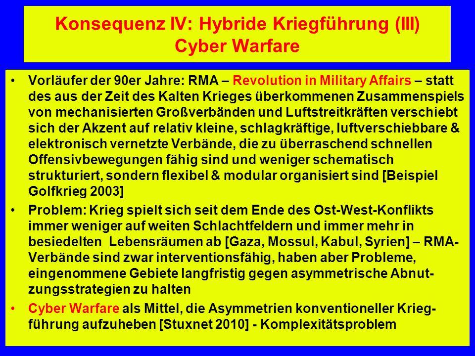 Konsequenz IV: Hybride Kriegführung (III) Cyber Warfare Vorläufer der 90er Jahre: RMA – Revolution in Military Affairs – statt des aus der Zeit des Ka