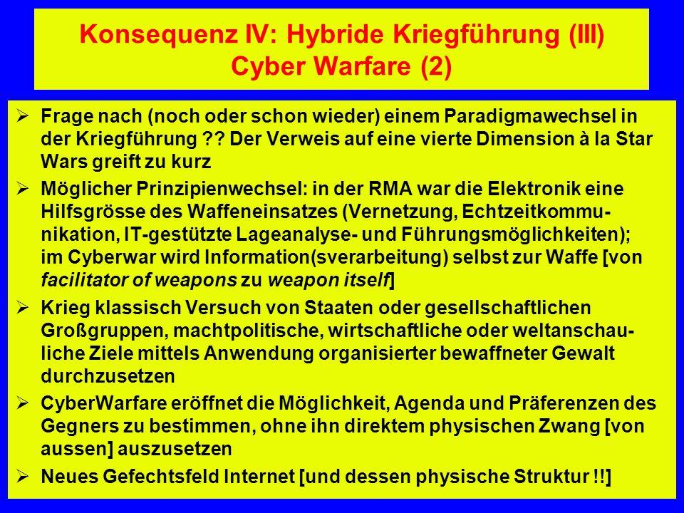 Konsequenz IV: Hybride Kriegführung (III) Cyber Warfare (2)  Frage nach (noch oder schon wieder) einem Paradigmawechsel in der Kriegführung ?? Der Ve