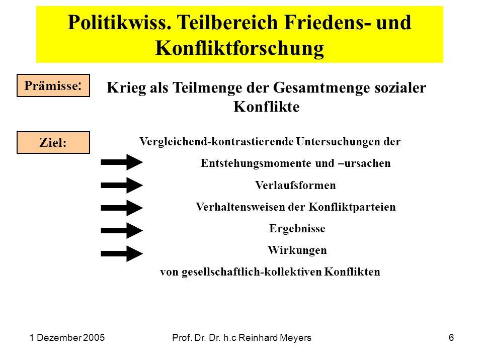 1 Dezember 2005Prof. Dr. Dr. h.c Reinhard Meyers6 Politikwiss. Teilbereich Friedens- und Konfliktforschung Prämisse : Krieg als Teilmenge der Gesamtme