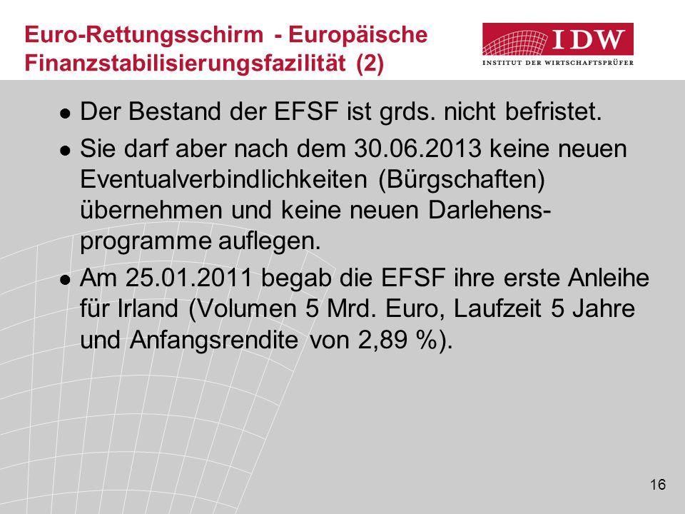 16 Euro-Rettungsschirm - Europäische Finanzstabilisierungsfazilität (2) Der Bestand der EFSF ist grds.