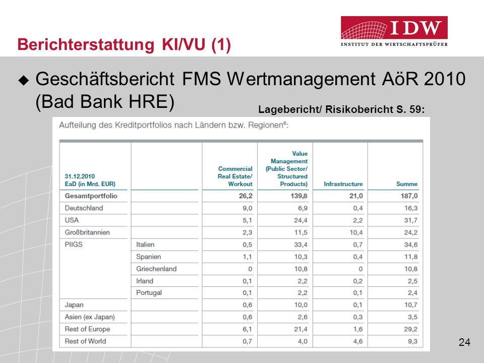 24 Berichterstattung KI/VU (1)  Geschäftsbericht FMS Wertmanagement AöR 2010 (Bad Bank HRE) Lagebericht/ Risikobericht S.